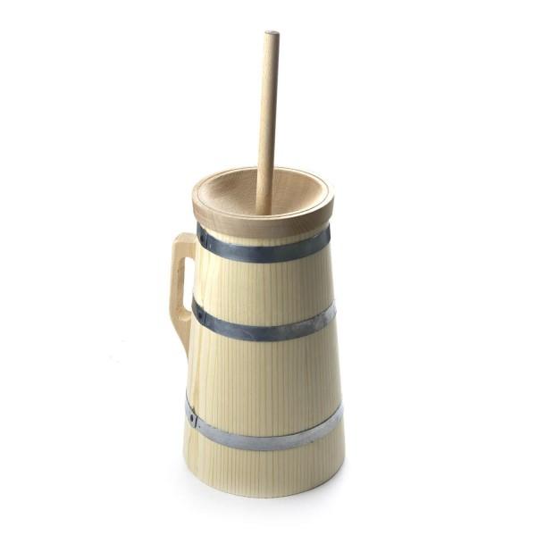 Butterfass 3-teilig, 2 Liter - aus massivem Fichtenholz