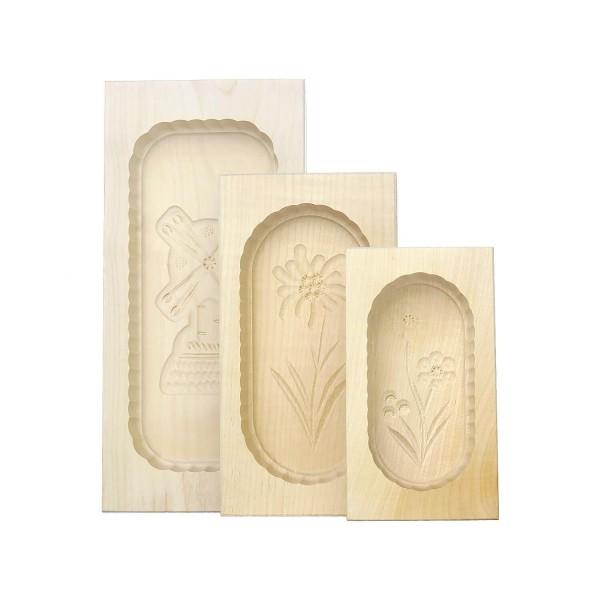 Butterformen-3er-Set, eckig, aus Ahornholz