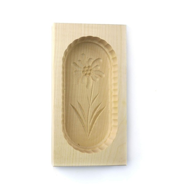 Butterform eckig 250 g, aus Ahornholz, 19 cm, Motiv Edelweiß